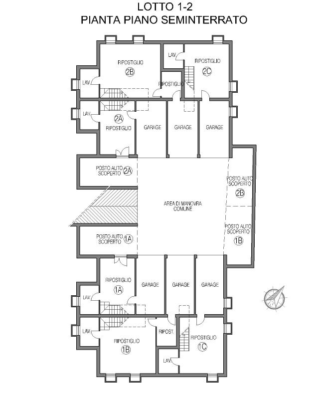 Gruppo dalla bona for 1 piano di appartamento di garage per auto